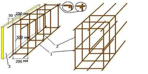 вариант схемы армирования ленточного фундамента